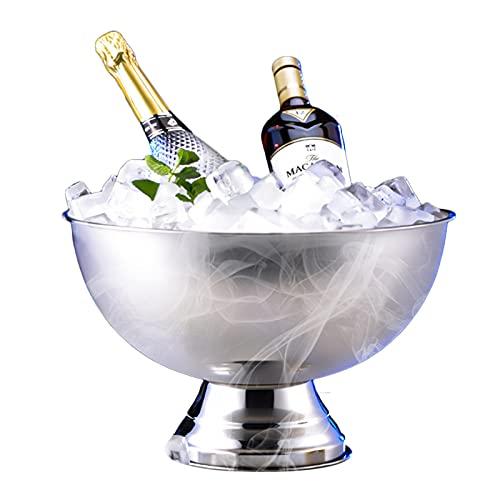 LTLWSH Secchiello per Champagne, per Maggiore Prestazione di Isolamento, secchielo per Spumante,Vino e Bottiglia, Glacette in Acciaio Inox per Champagne,Argento,Without Handle