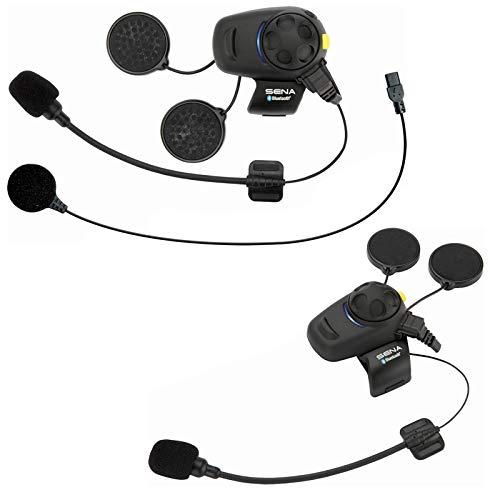 SMH5-FM Bluetooth-Kommunikationssystem mit integriertem FM Tuner für Motorräder und Roller mit Kabel- und Schwanenhalsmikrofon Doppelpack