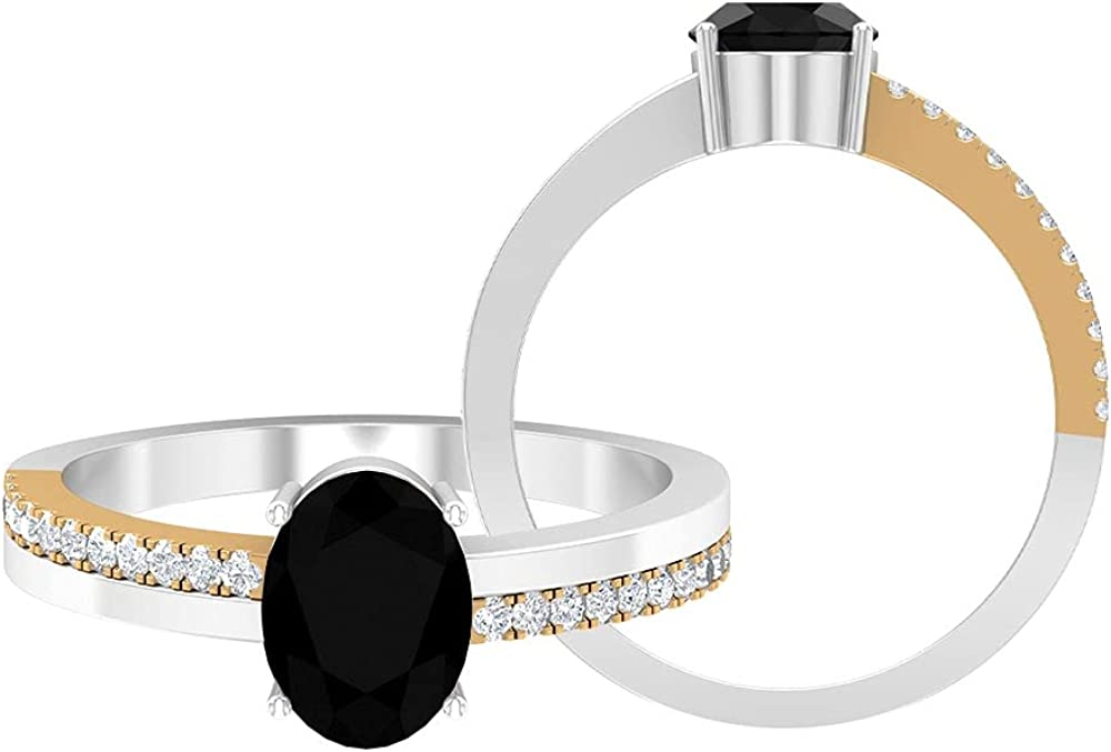 2 CT Two Tone Ring with Lab Created Black Diamond and Moissanites, Solitaire Ring with Side Stones (8X6 MM Oval Cut Lab Created Black Diamond), 14K Yellow Gold, Size:US 13.0