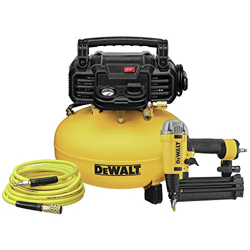 Dewalt DWFP1KIT 18 Gauge Brad Nailer and 6 Gallon Oil-Free Pancake Air Compressor Combo Kit by MaxTool. Compare B088YBNSMV related items.