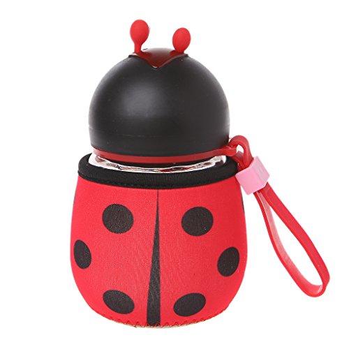 Dabixx Creative Protable Bee Ladybug Borraccia in vetro per bambini all'aperto, regalo per bambini, colore: rosso coccinella
