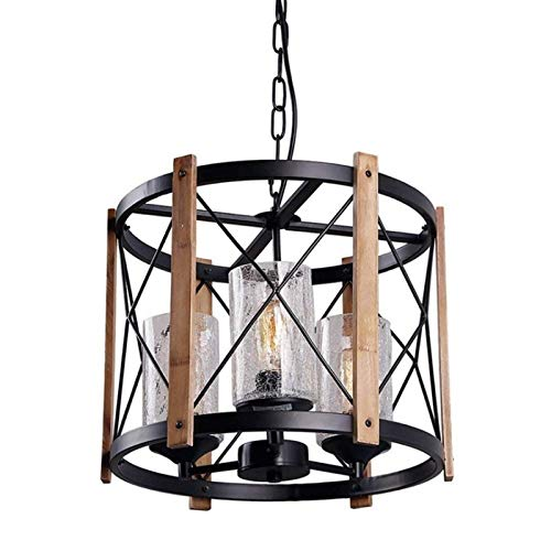 Casa de campo Colgante Ligero Negro Improyecto de Colgando Industrial 3-Luces con techo de vidrio agrietado Lmpara de techo Iluminacin Dimetro redondo 40 cm E27 para Dormitorio Decoracin Comedor C