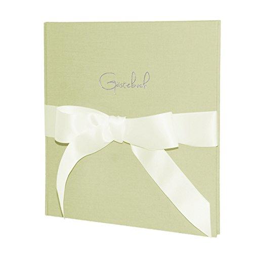 Weddix 'Libro degli ospiti di nozze NAPOLI, Mint–Elegante libro degli ospiti in Mint con copertina in tela, Fiocco E SCRITTA IN RILIEVO Libro degli ospiti in argento