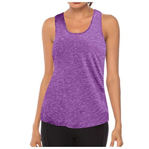 MMOOVV Camiseta deportiva para mujer, de malla, para yoga, entrenamiento, espalda cruzada, Morado-01, S