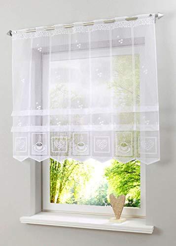 Bonprix Jacquard Clipraffstore 62 x 120 Weiß Clipsstore Vorhang mit Clipsen Lochleiste