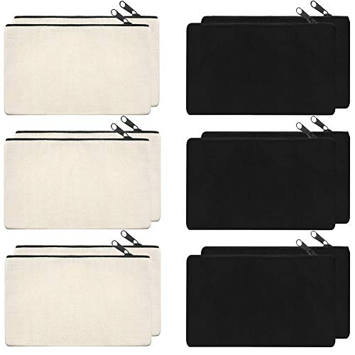 SAKOLLA 12 Pack Canvas Zipper Bags, Multi-Purpose Blank DIY Craft Pouches for Makeup, Travel, Party Gift Case, Pencil Case, Organize Storage (Black,White, 8 x 5 inches)