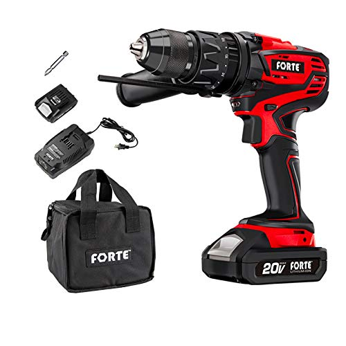 FORTE Hammer Drill Kit Cordless 20V MAX 1/2 IN. with Lithium Battery and Qucik Charger, Variable Speed Trigger & 360° Rotatable Handle, Speed Setting Knob for Wood, Steel