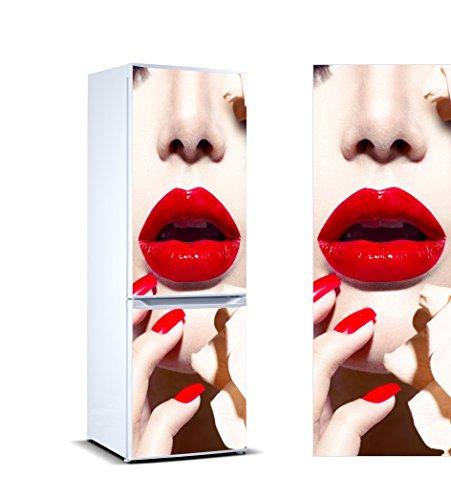 Pegatinas Vinilo para Frigorífico Labios Rojos | Varias Medidas 185 x 60 cm | Adhesivo Resistente y de Fácil Aplicación | Pegatina Adhesiva Decorativa de Diseño Elegante