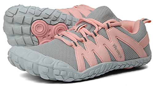Weweya Women Barefoot Running Tennis Shoes Minimal for Ladies Runner Daily Gym Fitness Athletic Hiking Trekking Walking Toes Trail Sneakers Workout Five Fingers Footwear Gray Pink US Size 8