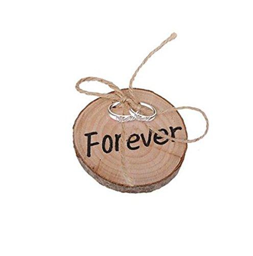 Da. WA 1pcs rústico Chic redonda madera anillo almohada con yute Cuerda Madera personalizado anillo soporte para boda regalo