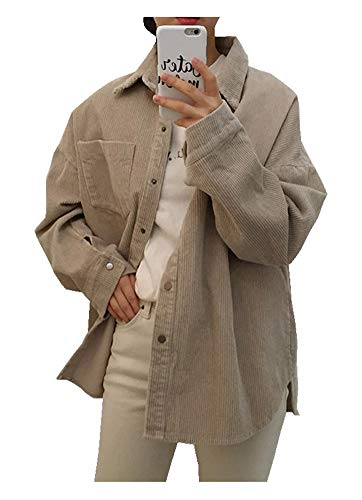 CYSTYLE Retro Vintage Damen Cord Hemd Cordjacke Freizeit Jacken Oberteile Casual Langarm Outwear (Khaki, One Size(Fit 32-38))