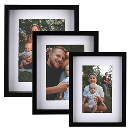 Picture Frames Black Collage Set of 3 – Display Pictures 4x6, 5x7 & 6x8 with Mat or 6x8, 7x9 & 8x10 without Mat – Wood Tabletop & Wall Mount Photo Frames Set for Kitchen Gallery Wall Decoration