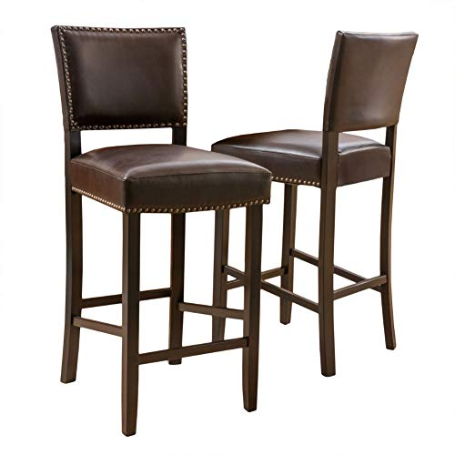 Christopher Knight Home Mayfield Bonded Leather Backed Barstools, 2-Pcs Set, Brown