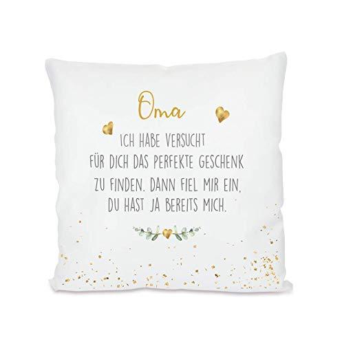 """Manufaktur Liebevoll I Kissen """"Oma, ich Habe versucht I Geschenk für die Großmutter, Omi I Besondere Geschenkidee als Dankeschön, zum Geburtstag und zu Weihnachten I 40x40 cm"""