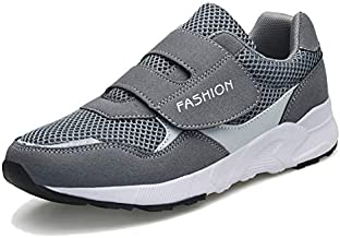 LEADER SHOW Women's Elderly Casual Comfort Walking Shoe Safety Flats Non-Slip Hook & Loop Sneakers (8, Gray)