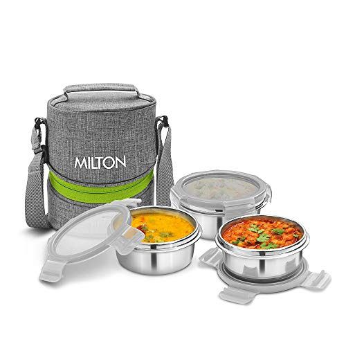 Milton Chic 3 Stainless Steel Tiffin Box with Jackets, (3 Containers), Grey