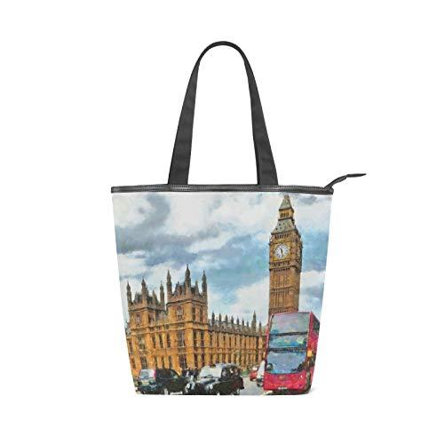 JinDoDo - Bolsa de lona con cremallera para pintura de acuarela Big Ben para mujer, para ir de compras, viajes, playa, escuela