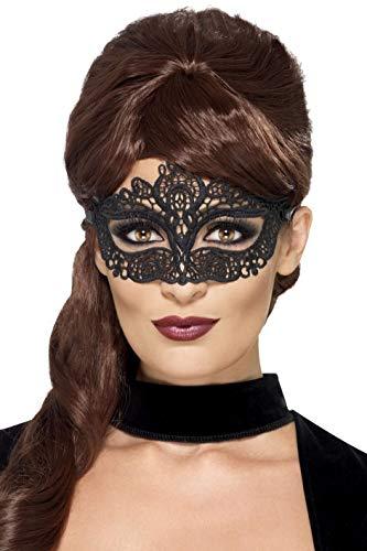Smiffys 44282 - Bestickte Spitzen Filigree-Augenmaske, schwarz