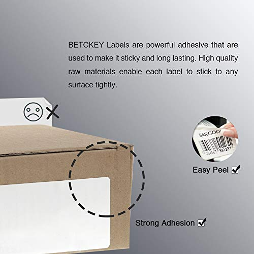 """BETCKEY - 4"""" x 6"""" Blank Shipping Labels Compatible with Zebra & Rollo Label Printer(not for dymo 4XL),Premium Adhesive & Perforated[1 Rolls, 250 Labels] Photo #2"""