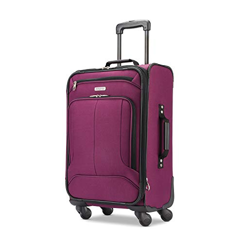 American Tourister Pop Max Softside Luggage with Spinner Wheels, Berry, Carry-On 21-Inch