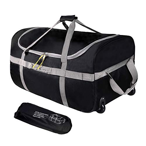 """REDCAMP Foldable Duffle Bag with Wheels 120L 30"""", 1680D Oxford Collapsible Extra Large Duffel Bag with Rollers for Camping Travel Gear, Black"""