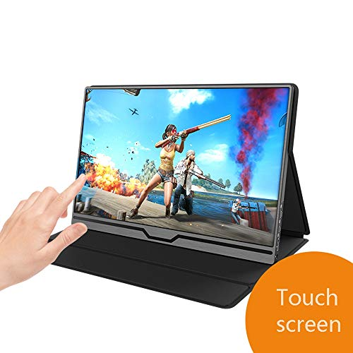 Portable Touch Monitor, 15,6 Inch Slim IPS HD 1920x1080 16: 9 scherm, slechts één type-C-kabel Drive Video Kracht En Touch, HDMI/On USB-C 3.1 Gen 2 ingebouwde luidsprekers Laptop Monitor, Gaming Mon