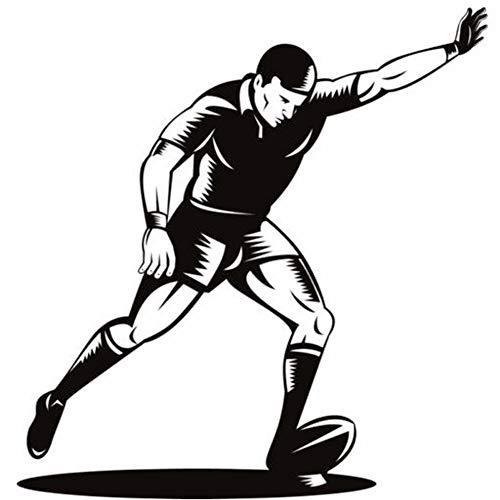 feitao Rugby Ball mit Spieler Ziel Kick Rugby Wandaufkleber Fitnessstudio Sport Dekor Kunst Aufkleber Wallpaper für Jungen Zimmer Home Decoration 48x50cm