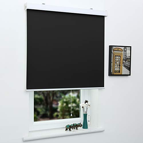 SUNFREE Automatic Roller Shades White 100% Blackout Roller Shades Battery Running Shades with Remote...