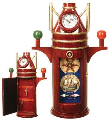 Reloj Binnacle de madera w/Keybox