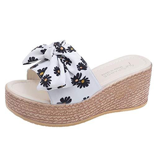 NMERWT Damen Hausschuhe Sommer Mode Strand Keil Schuhe Krawatte Plattform Hausschuhe