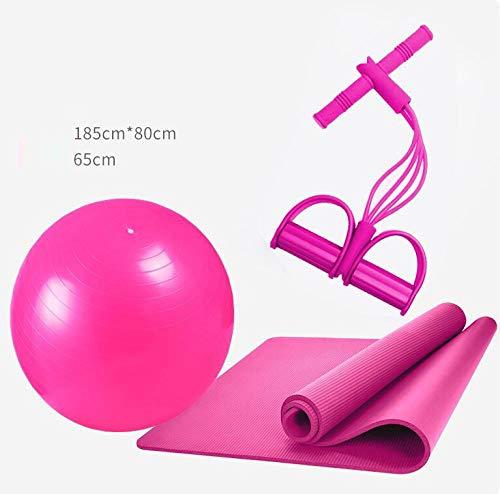 Multifunctionele combinatieset yogamat, yogabal, spanband, geschikt voor yoga, pilates, fitness, gebruik buitenshuis, grootte: 185 x 80 cm, roze, 3-delige set