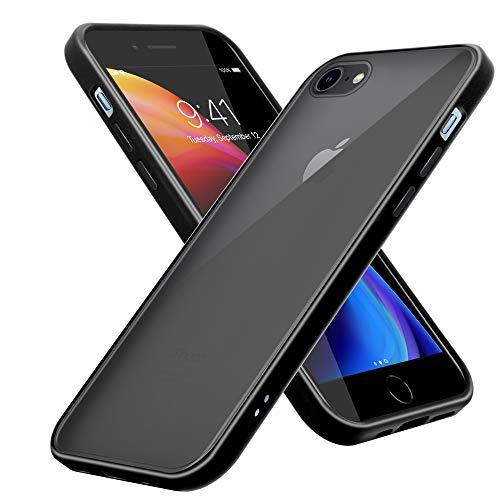 Cadorabo Funda Compatible con Apple iPhone 6/6S 7/7S 8/8S en Mate Negro - Funda para teléfono móvil con Interior de Silicona TPU y Parte Trasera de plástico Mate - Funda Protectora híbrida Trasera