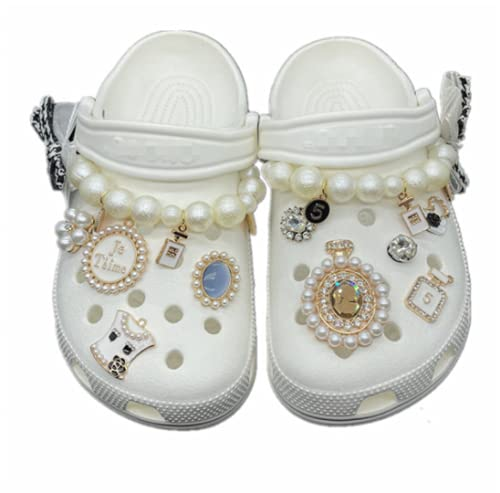 11 piezas Crocs Jibbitz zapato encanto DIY joyería accesorios blanco perla pulsera perfume botella decoración material accesorios