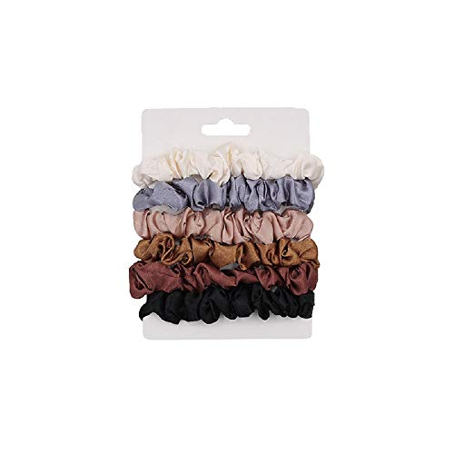 Shuiniba Silk Hair Scrunchies, Small Silk Scrunchy Skinny Hair Ties Bows,Elastics Hair Bands, Soft Scrunchy Hair Tie Ropes Ponytail Holder for Women Girls Hair Accessories 6 Pack(Assorted Colors)
