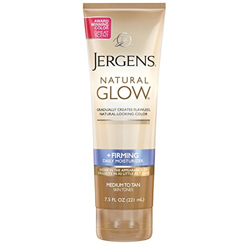 Jergens Natural Glow +FIRMING Self Tanner, Sunless Tanner for Medium to Deep Skin Tone, Anti Cellulite Firming Body Lotion, for Natural-Looking Tan, 7.5 Ounce (Packaging May Vary)