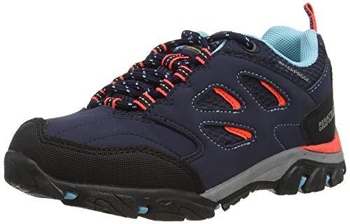 Regatta Unisex-Kinder Holcombe Iep Low' Waterproof Eva Footbed Rubber Outsole Shoes Walking-Schuh, Marine/Feurige Koralle, 32 EU