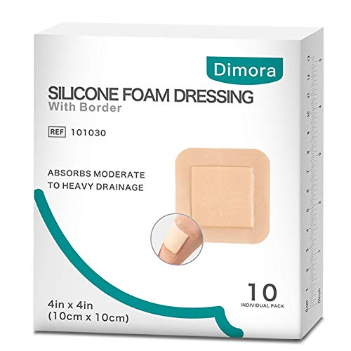 """Dimora Silicone Foam Dressing with Border Adhesive Waterproof 4""""x4""""(10 cm*10 cm) Pack of 10 Square Dressing for Wound Care"""