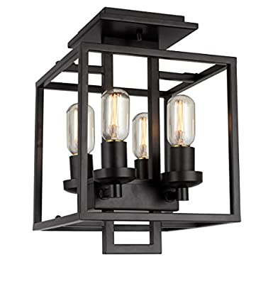 11 inch 4 Light Cubic Semi Flush Mount Rustic Industrial Look Openwork Lantern Ceiling Light (Aged Bronze Brushed)