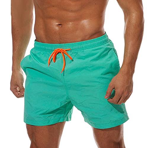 ZIOOER Badeshorts für Männer Lustig Sommer Badeshorts Schnelltrocknend Schwimmhose Schwimmhose Badehose Strand Shorts mit Mesh Futter Lake Green XL