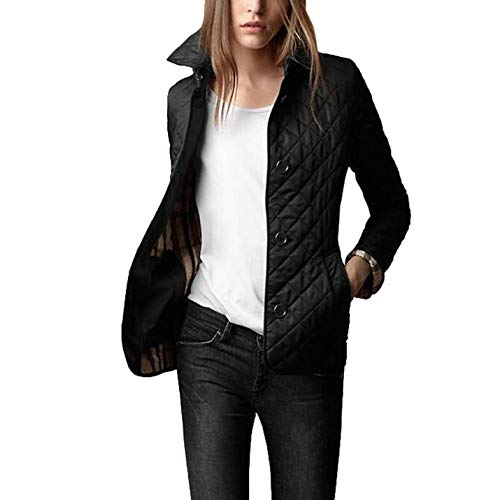 Flygo Women's Diamond Quilted Jacket Stand Collar Button Closure Coat with Pockets (Black, Small)