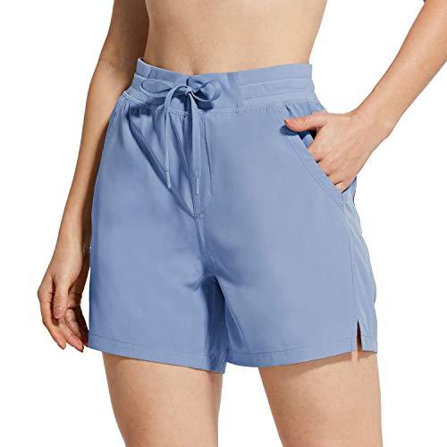 BALEAF Women's 5' Hiking Shorts with Zip Pocket Quick Dry Athletic Running Shorts Elastic Waist Blue L