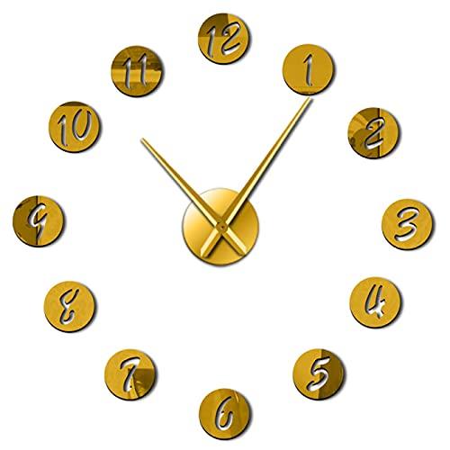 hufeng Reloj de Pared DIY Reloj de Pared Reloj de Pared silencioso 3D Moderno Reloj con números de Espejo Pegatinas de acrílico para Oficina en casa Oro 47 Pulgadas