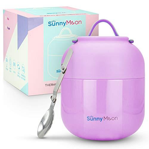 SunnyMoon® Thermobehälter für Essen - 500 ml - hält Ihr Essen 12 Stunden lang warm - Thermo Lunchbox für Suppen oder Babybrei- praktisch, handlich und perfekt für unterwegs