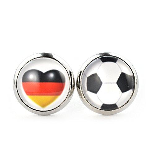 SCHMUCKZUCKER Ohrringe Motiv Fußball Flagge Herz silber-farben 2 Größen Deutschland-Herz + Fußball 12mm