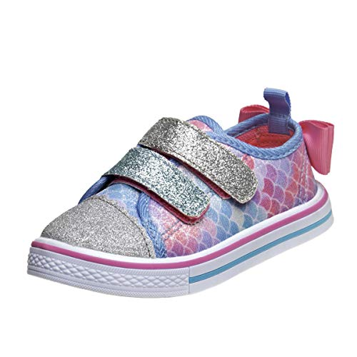 Laura Ashley Toddler Girls' Sneakers - Casual Glitter Running Shoes, Size 8 Toddler, Blue/Pink'