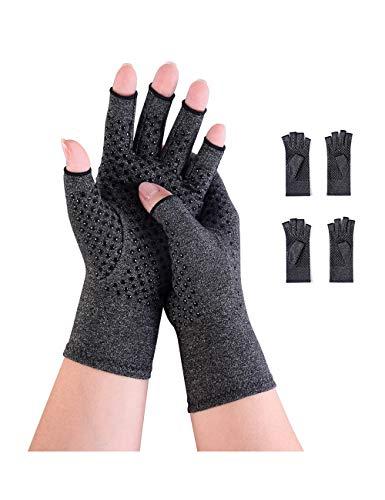 2 pares de guantes de compresión para artritis, sin dedos, para aliviar el dolor, para juegos y escritura y para hombres y mujeres, antideslizantes, talla L, color negro