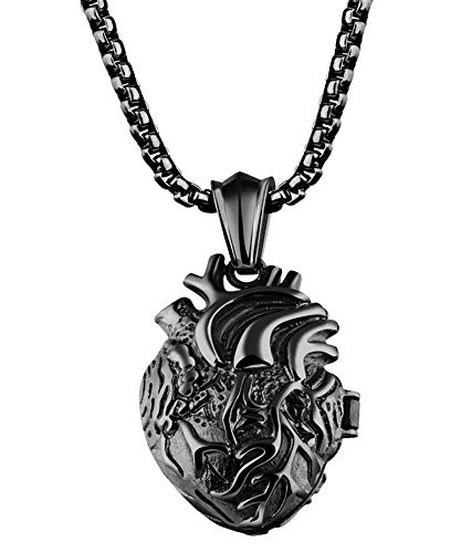 jonline24h Stainless Steel Anatomical Organ Heart Pendant Necklace for Mens Womens 22-24inch Chain (Small Black)