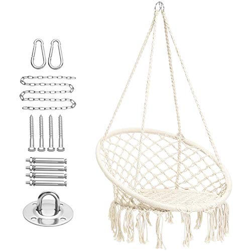 CCTRO Hammock Chair Macrame Swing with Haning Hardware Kits,Boho Style Hanging Swing Chairs for Indoor/Outdoor Home Patio Porch Yard Garden Deck,265 Pound Capacity (A White)