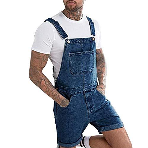 jiumoji Mens Plus Pocket Jeans Rompers Boys Shorts Jumpsuit Suspender Shorts Pants Denim Bib Overalls (-Dark Blue, XL)