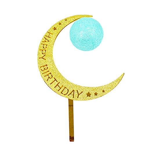 Ruiting Cake Topper Luna en forma de Luna y Bola Luminosa Decoración para pasteles y tarta Cake Topper Cumpleaños con letra'Happy Birthday' Verde